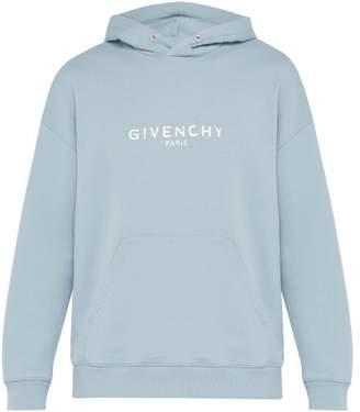Givenchy Logo Print Cotton Hooded Sweatshirt - Mens - Light Blue