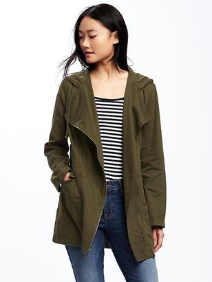 Hooded Twill Asymmetric-Zip Field Jacket for Women $49.94 thestylecure.com