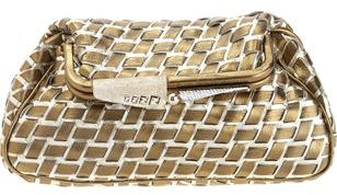 Fendi Borderline Metallic Pouchette- Platinum