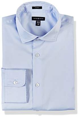 Crafted Collar Men's Slim Fit Solid Spread Collar Dress Shirt Easy Care