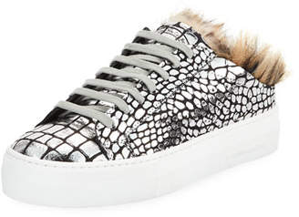 Croco P448 Clara Metallic Slide Sneakers with Faux Fur