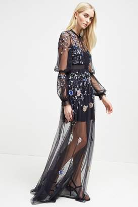 French Connenction Caspia Embroidered Maxi Dress