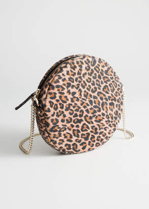 And other stories Leopard Suede Circle Bag