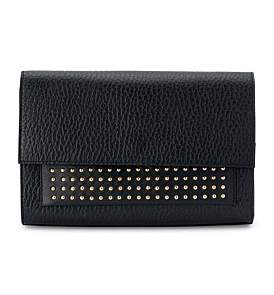 Olga Berg Leather Studded Shoulder Bag