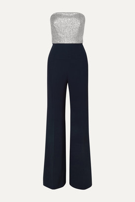 Roland Mouret Gifford Strapless Silk-blend Lurex And Crepe Jumpsuit - Navy