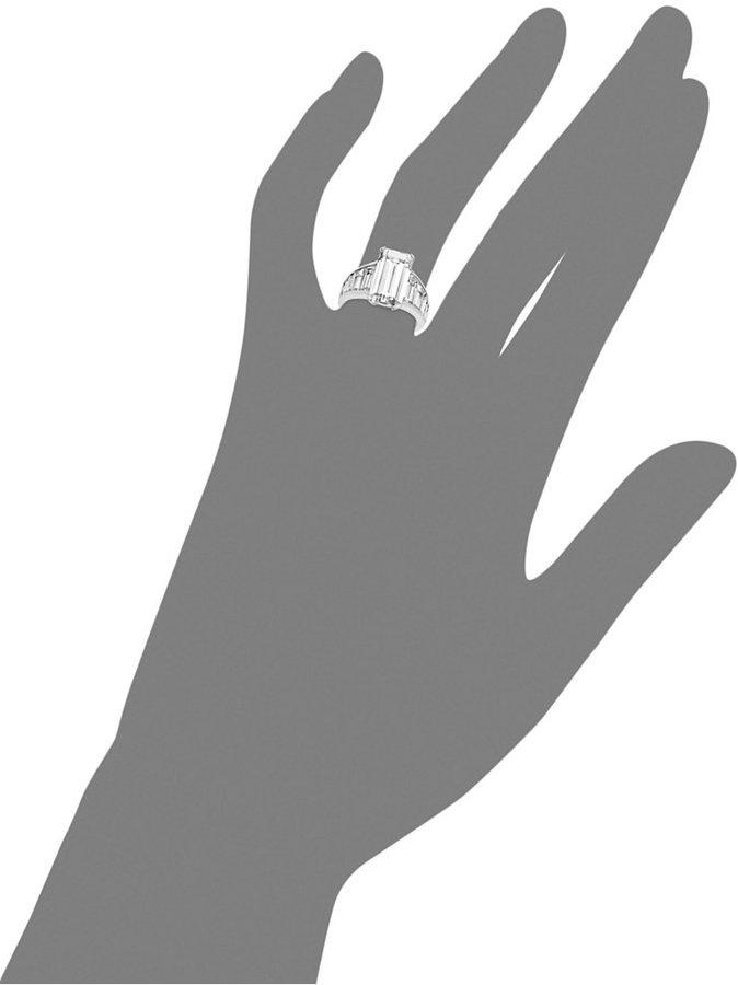 Arabella Sterling Silver Ring, Swarovski Zirconia Emerald-Cut Ring (14-1/4 ct. t.w.)