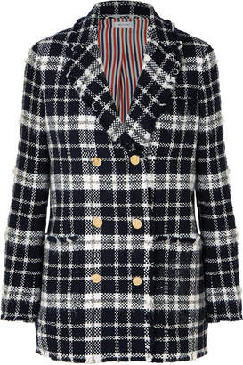 Thom Browne Checked Wool-blend Tweed Blazer - Navy