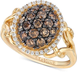 LeVian Le Vian Chocolatier Diamond Cluster Ring (1 ct. t.w.) in 14k Gold
