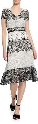 Taylor Lace Printed A-Line Midi Dress