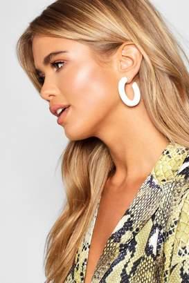 boohoo Gold Contrast Chunky Hoop Earrings