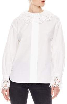 Sandro Notting Hill Lineaire Lace Trim Shirt