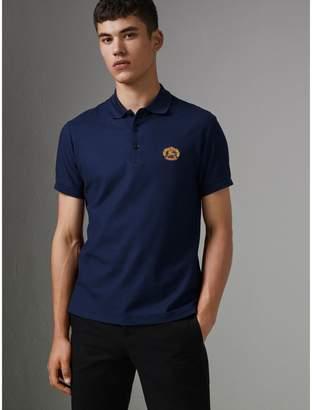 Burberry Archive Logo Cotton Pique Polo Shirt , Size: M, Blue