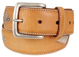 Manieri Snake Stamped Inserts Caramel Italian Leather Belt