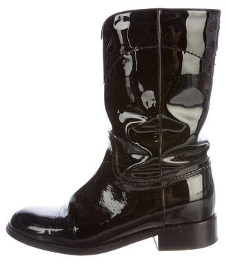Chanel Patent Leather CC Ankle Boots