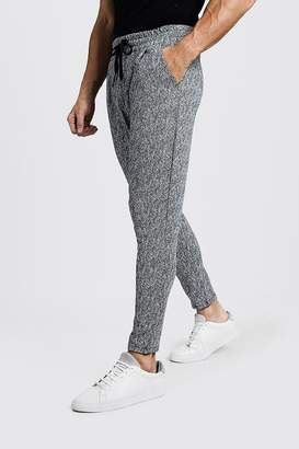 boohoo Smart Jogger In Grey Herringbone