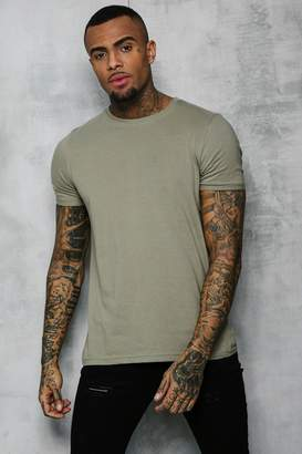 boohoo Crew Neck T-Shirt With Rolled Sleeves