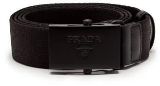 Prada Logo Buckle Canvas Belt - Mens - Black