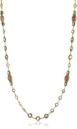 "Sorrelli Andalusia"" Silk Crystal Bead, Riverstone Stations Long Strand Necklace"