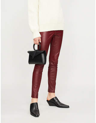 Theory Leather skinny mid-rise jeans