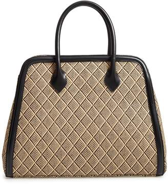 Dries Van Noten Woven Raffia & Leather Satchel