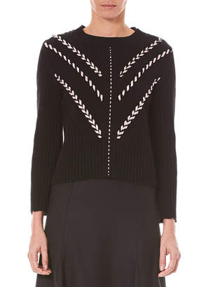 Carolina Herrera Crewneck Long-Sleeve Stitched Silk Knit Sweater
