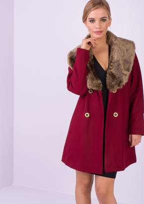Missy Empire Missyempire Mollie Wine Faux Fur Collar Coat