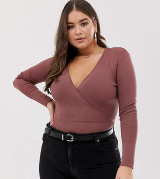 Missguided Plus knitted wrap body in mocha