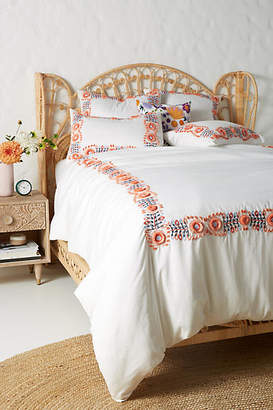 Anthropologie Embroidered Petunia Duvet Cover