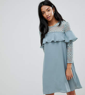 Elise Ryan Petite Shift Dress With Ruffle Detail