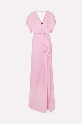 Roland Mouret Lorre Cape-effect Ruffled Crepe Gown - Pink