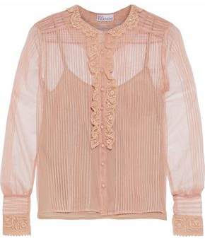 RED Valentino Pintucked Lace-Trimmed Tulle Blouse