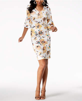 Thalia Sodi Floral-Print Bell-Sleeve Dress, Created for Macy's