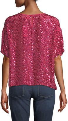 Velvet by Graham & Spencer Sequined Short-Sleeve Cropped Shirt