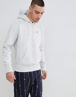 Champion reverse weave hoodie with small logo in grey