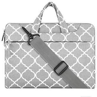 Mosiso Laptop Shoulder Bag / Sleeve Briefcase, Quatrefoil Style Canvas Fabric Carry Case for 12.9 iPad Pro / 13.3 Inch Notebook / MacBook Air / MacBook Pro, Gray