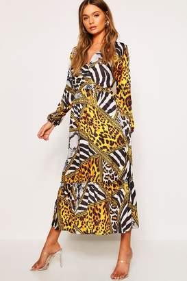 boohoo Leopard Chain Print Maxi Dress