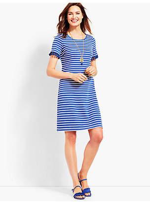 Talbots Tassel Trim Striped Shift Dress