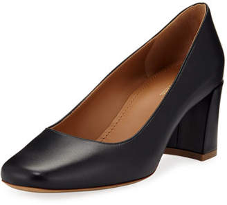 Mansur Gavriel Leather Square-Toe Block-Heel Pumps