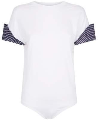 Clayton Alix Pinstripe Cuffs T-Shirt Bodysuit
