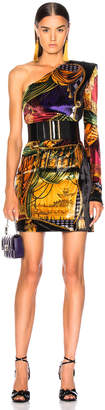 Versace Printed One Shoulder Mini Dress in Yellow Multicolor | FWRD