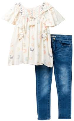 Jessica Simpson Ruffled Top & Jeans Set (Toddler & Little Girls)