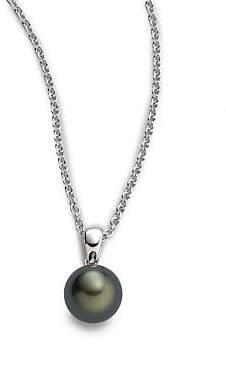 Mikimoto Women's 9MM Black Round Cultured South Sea Pearl& 18K White Gold Pendant Necklace