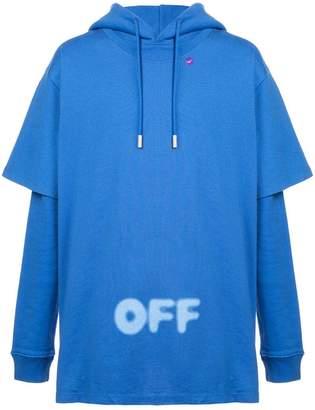 Off-White logo printed hybrid hoodie