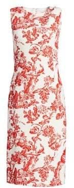 Oscar de la Renta Toile Du Joie Floral Sheath Dress