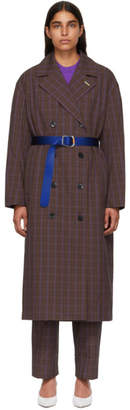 Tibi Multicolor Oversized Check Trench Coat