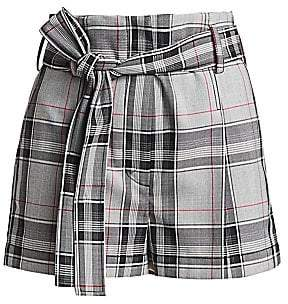 3.1 Phillip Lim Women's Plaid Belted High-Waist Shorts - Size 0