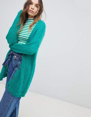 Asos Design Cardigan In Fluffy Open Knit