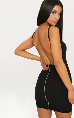 PrettyLittleThing Black Zip Detail Low Back Strappy Bodycon Dress