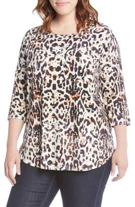 Karen Kane Leopard Print Shirttail Top