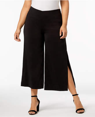 NY Collection Plus Size Slit-Cuff Culottes